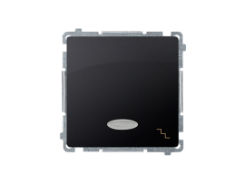 Striedavý prepínač s orientačným podsvietením nevymeniteľný LED farba: modrá (prístroj s krytom) 10AX 250V, pružinové svorky, grafit mat. metalizovaný