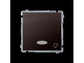 """Tlačidlo """"zvonček"""" s orientačným podsvietením nevymeniteľný LED farba: modrá (prístroj s krytom) 10AX 250V, pružinové svorky, čokoládový mat. metalizovaný"""