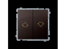 Tlačidlo žalúziové, radenie č. 1+1 (prístroj s krytom) 10A 250V, skrutkové svorky, čokoládový mat. metalizovaný