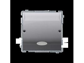Hotelový kartový spínač s orientačným podsvietením farba: modrá (prístroj s krytom) 10A (2A) 250V, zásuvka iné, strieborná matná
