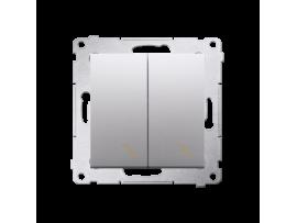 Striedavý prepínač dvojitý, radenie č. 6+6 (prístroj s krytom) 10AX 250V, skrutkové svorky, strieborná matná