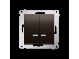 Dvojitý krížový spínač s orientačným podsvietením LED bez piktogramu (prístroj s krytom) 10AX 250V, pružinové svorky, hnedá matná