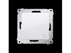 Striedavý prepínač, radenie č. 6 (prístroj s krytom) 10AX 250V, pružinové svorky, biela