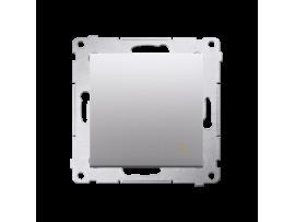 Striedavý prepínač, radenie č. 6 (prístroj s krytom) 10AX 250V, pružinové svorky, strieborná matná