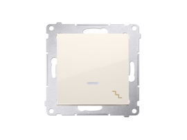 Striedavý prepínač s orientačným podsvietením LED, radenie č. 6 So (prístroj s krytom) 10AX 250V, pružinové svorky, krémová