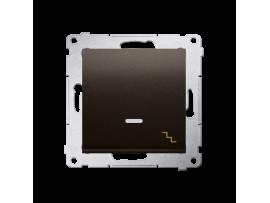 Striedavý prepínač s orientačným podsvietením LED, radenie č. 6 So (prístroj s krytom) 10AX 250V, pružinové svorky, hnedá matná