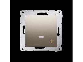 Krížovy spínač s orientačným podsvietením LED, radenie č. 7 So (prístroj s krytom) 10AX 250V, pružinové svorky, zlatá matná