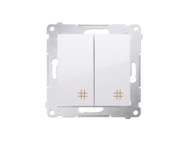 Dvojitý krížový prepínač, radenie č. 7+7 (prístroj) (prístroj s krytom) 10AX 250V, pružinové svorky, biela