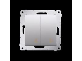 Dvojitý krížový prepínač, radenie č. 7+7 (prístroj) (prístroj s krytom) 10AX 250V, pružinové svorky, strieborná matná