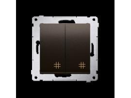 Dvojitý krížový prepínač, radenie č. 7+7 (prístroj) (prístroj s krytom) 10AX 250V, pružinové svorky, hnedá matná