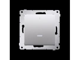 Dvojpólový spínač s orientačným podsvietením LED (prístroj s krytom) 10AX 250V, pružinové svorky, strieborná matná