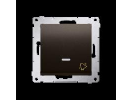 """Tlačidlo """"zvonček"""" s orientačným podsvietením LED, radenie č. 1/0 (prístroj s krytom) 10AX 250V, pružinové svorky, hnedá matná"""
