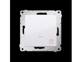 """Tlačidlo """"svetlo"""" s orientačným podsvietením LED (prístroj s krytom) 10AX 250V, pružinové svorky, biela"""