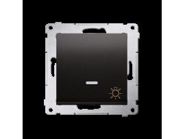 """Tlačidlo """"svetlo"""" s orientačným podsvietením LED (prístroj s krytom) 10AX 250V, pružinové svorky, antracitová"""