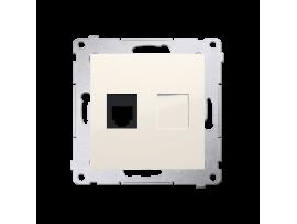 Telefonická zásuvká RJ12 jednoduchá (prístroj s krytom) krémová