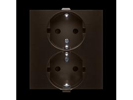 Dvojitá zásuvka Schuko s clonkami (kompletný výrobok) 16A 250V, skrutkové svorky, hnedá matná