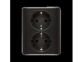 Dvojitá zásuvka s uzemnením typu Schuko s clonkami - škandinávska verzia (kompletný výrobok) 16A 250V, skrutkové svorky, antracitová