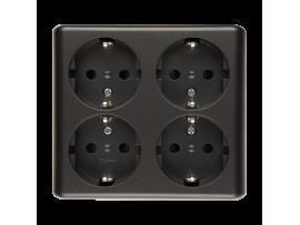 Štvornásobná zásuvka s uzemnením typu Schuko s clonkami - škandinávska verzia (kompletný výrobok) 16A 250V, pružinové svorky, antracitová