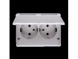 Dvojitá zásuvka s uzemnením Schuko s clonkami - krytie IP44 - škandinávska verzia (kompletný výrobok) 16A 250V, skrutkové svorky, strieborná matná