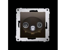 Anténna zásuvka R-TV-SAT koncová/zakončená tlm.:1dB hnedá matná