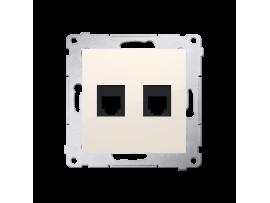 Zásuvka telefonická dvojitá RJ12 (prístroj s krytom) krémová