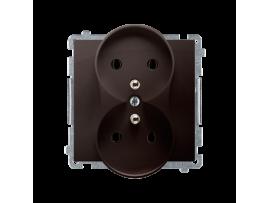 Dvojitá zásuvka s uzemnením čokoládový mat. metalizovaný 16A