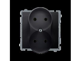 Dvojitá  zásuvka bez uzemnenia s clonkami grafit mat. metalizovaný 16A