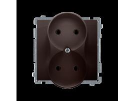 Dvojitá zásuvka bez uzemnenia čokoládový mat. metalizovaný 16A