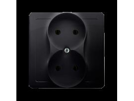 Dvojitá zásuvka bez uzemnenia grafit mat. metalizovaný 16A