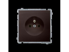Jedno zásuvka s uzemnením čokoládový mat. metalizovaný 16A
