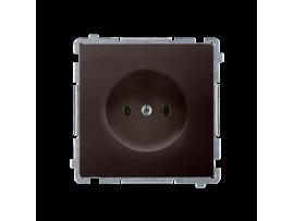 Jedno zásuvka bez uzemnenia s clonkami čokoládový mat. metalizovaný 16A