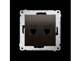Zásuvka telefonická dvojitá RJ12 (prístroj s krytom) hnedá matná