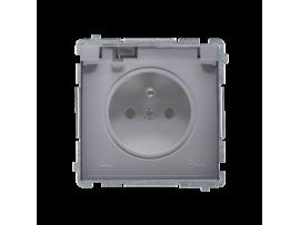 Jedno zásuvka s krytím IP44  - klapka v transparentnej farbe strieborná matná 16A