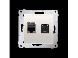 Dvojitá počítačová zásuvka RJ45 kategórie 6 s protiprachovou clonou (prístroj s krytom) krémová