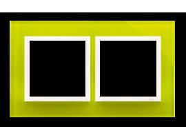 Rámček 2- násobný sklenený Limetková/biela