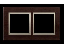 Rámček 2- násobný drevený Wenge/zlato