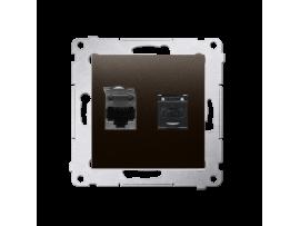 Dvojitá počítačová zásuvka RJ45 kategórie 6 s protiprachovou clonou (prístroj s krytom) hnedá matná