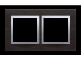 Rámček 2- násobný kovový Tmavý nerez/striebro