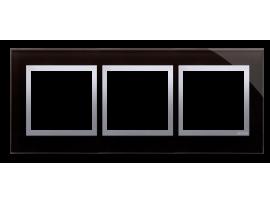 Rámček 3 - násobný sklenený Lávová/striebro
