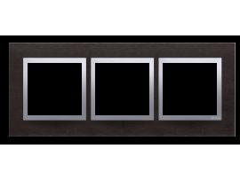 Rámček 3- násobný kovový Tmavý nerez/striebro