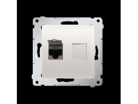 Jednoduchá tienená počítačová zásuvká RJ45 kategórie 6 s protiprachovou clonou (prístroj s krytom) krémová