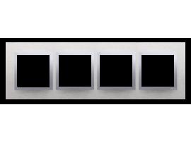 Rámček 4- násobný kovový Svetlý nerez/striebro