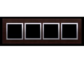 Rámček 4 - násobný drevený Wenge/striebro