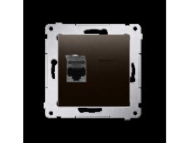 Jednoduchá tienená počítačová zásuvká RJ45 kategórie 6 s protiprachovou clonou (prístroj s krytom) hnedá matná