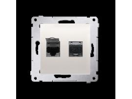 Dvojitá tienená počítačová zásuvka RJ45 kategórie 6 s protiprachovou clonou (prístroj s krytom) krémová