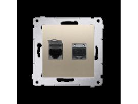 Dvojitá tienená počítačová zásuvka RJ45 kategórie 6 s protiprachovou clonou (prístroj s krytom) zlatá matná