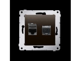 Dvojitá tienená počítačová zásuvka RJ45 kategórie 6 s protiprachovou clonou (prístroj s krytom) hnedá matná
