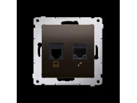 Počítačová zásuvka RJ45 kategórie 5e + telefonické RJ12 (prístroj s krytom) hnedá matná