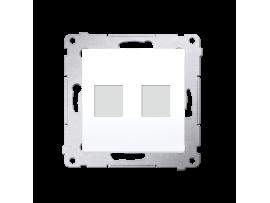 Krytka teleinformačních zásuviek na Keystone plochá dvojitá biela