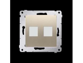 Krytka teleinformačních zásuviek na Keystone plochá dvojitá zlatá matná